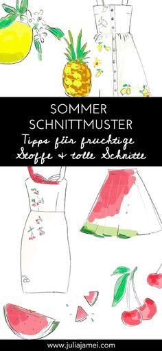 Schnittmuster & Stoff Inspirationen für Sommerkleider, Damen Oberteile und fruchtige Muster. Sewing, Fashion Design, Inspiration, Pattern Fabric, Fabrics, Sewing Patterns, Tops, Tips, Women's