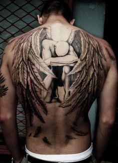 Full Buster Angel Back Tattoo Design For Men, Awesome Back Tattoos For Men Incredible Tattoos, Great Tattoos, Unique Tattoos, Beautiful Tattoos, Body Art Tattoos, Men Tattoos, Faith Tattoos, Men Back Tattoos, Back Piece Tattoo Men