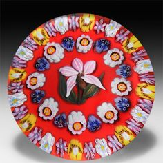 Drew Ebelhare & Sue Fox 2010 spaced concentric millefiori with pink lady's slipper paperweight.  by Drew Ebelhare