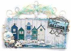 Scrap Escape: FabScraps scrapbook paper- Beachcomber Collection- wall hanging made from an old wall plaque simply painted over and repurposed. The beach houses are chipboard pieces from the collection as well. Scrapbook Expo, Scrapbook Paper, Scrapbooking Ideas, Scrapbook Layouts, Seaside Decor, Seaside Beach, Easy Paper Crafts, Paper Crafting, Old Wall