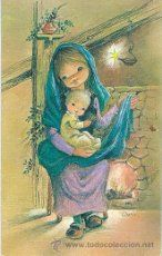 Postal Navidad Vírgen y Niño Ilus.Nuria Baró