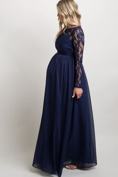 Navy Blue Lace Trim Open Back Maternity Evening Gown Navy Blue Maternity Dress, Maternity Bridesmaid Dresses, Maternity Dresses For Photoshoot, Maternity Skirt, Maternity Fashion, Dresses For Pregnant Women, Pregnant Wedding Dress, Maternity Evening Gowns, Evening Dresses