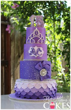 Shades of Purple Birthday Cake  www.tablescapesbydesign.com https://www.facebook.com/pages/Tablescapes-By-Design/129811416695