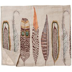 Feather Table Runner from KESTREL. Inspired by the quality of spirit that feathers have, here by a variety of plumes: hawk, eagle, falcon, and owl.