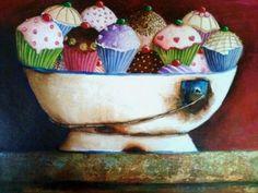 VALENCIA VAN ZYL Cup Cakes, Valencia, Serving Bowls, Planter Pots, Vans, Fine Art, Tableware, Painting On Fabric, Kitchen