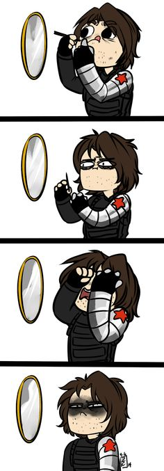 don't worry bucky. I think we all get frustrated too. Eyeliner fail. Bucky Barnes.