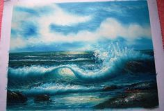 Seascape Oil Painting on Canvas signed by artist ocean waves nature blue rocks Canvas Signs, Blues Rock, Ocean Waves, Oil Painting On Canvas, Rocks, Scene, Water, Artist, Outdoor