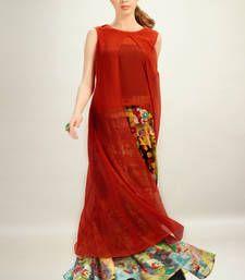 Buy Orange Chiffon Top With Multi Colour Georgette Printed Skirt kurtas-and-kurti online