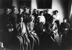 """""""Little Pair"""" the Grand Duchesses Anastasia and Maria Nikolaevna Romanova of Russia with the wounded soldiers at their Lazaret at Feodorovsky Gorodok. """"AL"""""""
