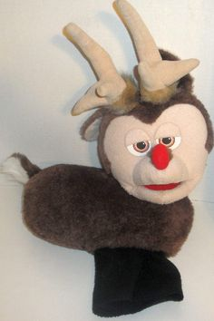 "VINTAGE PUPPET PRODUCTIONS RUDY REINDEER 22"" PLUSH DOLL HANDI-SPHERE MOUTH #PuppetProductions"