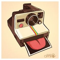 Lickaroid is a funny t-shirt for polaroid lovers Photography Illustration, Photo Illustration, Photography Camera, Fine Art Photography, Camera Drawing, Graphic Design Illustration, Illustrations Posters, Sleeve Tattoos, Digital Camera