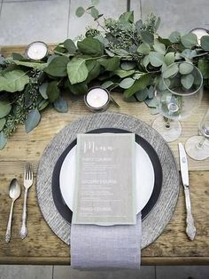 What an inexpensive way to decorate a beautiful table! Love the neutral accents in this table decor Wedding Reception, Rustic Wedding, Our Wedding, Lily Wedding, Wedding Favors, Reception Table, Wedding Menu, Wedding Ideas, Reception Decorations