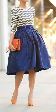 Orange clutch. Blue