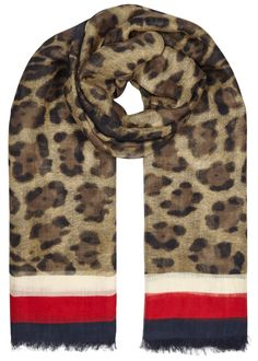 Gucci modal and silk scarf Leopard and signature striped border print, frayed edges, designer stamp 85% modal, 15% silk