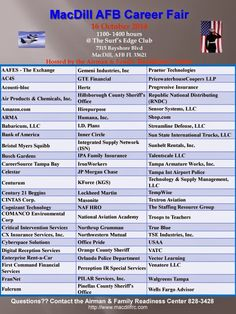 Announcement from MacDill AFB Transition Program career fair 10/16/14 http://military-civilian.blogspot.com/2014/10/announcement-from-macdill-afb.html