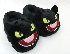 """How to Train your Dragon Toothless Plush Slipper approx 11"""" long DreamWorks How to Train Your Dragon http://www.amazon.com/dp/B00MLN8772/ref=cm_sw_r_pi_dp_Y8jcwb1EGQERN"""