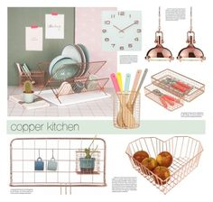 """copper kitchen"" by redcandyuk ❤ liked on Polyvore featuring interior, interiors, interior design, home, home decor, interior decorating, Karlsson, kitchen, contemporary and chic"