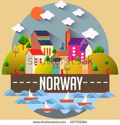 City vector illustration - NORWAY - stock vector