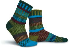 """Made in the USA with recycled cotton yarns, our whimsically, mismatched socks are the perfect addition to any outfit. One of our most popular winter socks, the Balsam sock is a great """"goes with everything"""" sock. Funky Socks, Crazy Socks, Colorful Socks, Solmate Socks, Winter Socks, Patterned Socks, Cotton Socks, Stockings, Unisex"""