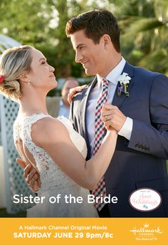 """Jun 2019 - Stephanie (Becca Tobin) and her fiance Ben (Ryan Rottman) are planning a of July wedding but family conflicts may complicate things. Make a date with """"Sister of the Bride"""" on June 29 only on Hallmark Channel. Films Hallmark, Hallmark Christmas Movies, Hallmark Channel, Movies Showing, Movies And Tv Shows, Becca Tobin, Movie Co, Winter Princess, Wedding Movies"""