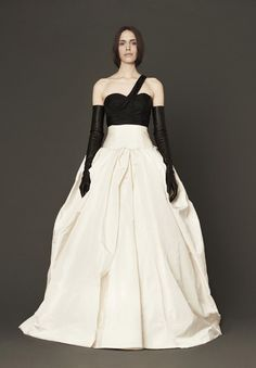 black and white wedding dress by Vera Wang - spring 2014 bridal collection | via junebugweddings.com I like the bottom, so with the top white, too and then a black sash with a black blingy flower or bow :)