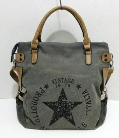 15e4107f7bf6 Vintage Big Star Printed Canvas Tote Handbag