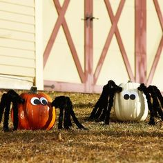 Trick-or-treaters will love these spooky spider pumpkins. More Halloween decorating: http://www.bhg.com/halloween/outdoor-decorations/outdoor-halloween-decorating-with-pumpkins/?socsrc=bhgpin100313spiderpumpkins&page=21