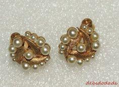 Fashion Goldtone Faux Pearl Clip On Earrings