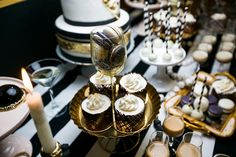 gentleman party, фотозона, Minty decor, birthday party, black & white, gold dessert table, sweets, candy bar.