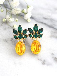 Pineapple Earrings Pineapple Jewelry Yellow Emerald Crystal