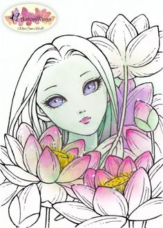 Digital Stamp - Instant Download - Water Lily Fairy - Lotus - digistamp - Big Eye - Fantasy Line Art for Cards & Crafts by Mitzi Sato-Wiuff, $3.00