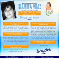 Meet the f-ABBA-lous Jacqueline Braun, who plays Rosie in the MAMMA MIA! London production.  Join Jacqueline and the rest of the London cast for some Greek island sunshine at the Novello Theatre!  #MammaMiaMusical #MammaMiaLondon #MeetTheCastMonday #MeetTheCast