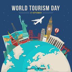 Flat design tourism day with landmarks Free Vector Creative Flyer Design, Creative Flyers, Design Plano, Tourism Day, Free Maps, Sustainable Tourism, Travel Logo, Famous Landmarks, Free Travel