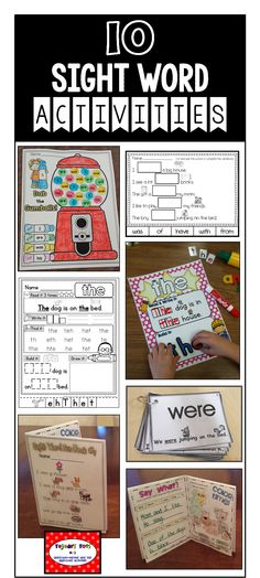 Ideas for selling 10 FREE sight word activities- sample of my Ultimate Sight Word Growing Bundle: Picture-supported Cards, Sight Word Books, Sight Word Practice Pages, Cloze Sheets, Dab the Sight Word & more! Teaching Sight Words, Sight Word Practice, Sight Word Activities, Classroom Activities, Word Games, Kindergarten Literacy, Literacy Games, Literacy Centers, Preschool