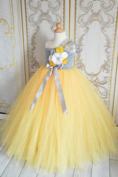Vintage Grey and Yellow Flower Girl Tutu Dress by TutuSweetBoutiqueINC on Etsy https://www.etsy.com/listing/189010773/vintage-grey-and-yellow-flower-girl-tutu