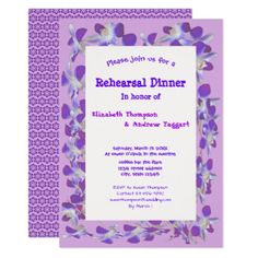 purple flower frame floral Rehearsal Dinner Card - wedding invitations diy cyo special idea personalize card
