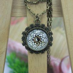 Yin Yang Art   Antique Bronze Glass Pendant Necklace by AfifShop