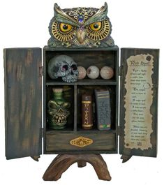 Make your Halloween guests quiver with delight upon seeing this imaginative Owl Potions Cabinet. Filled with eyeballs, an eerie skull, magic books. Shop now! Country Halloween, Classy Halloween, Vintage Halloween, Outdoor Halloween, Halloween School Treats, Halloween Party Supplies, Halloween Decorations, Fairy Halloween Costumes, Halloween Owl