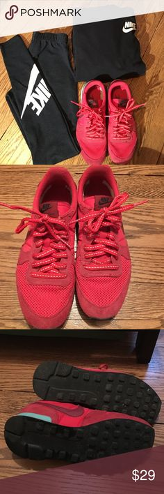 Nike Red Internationalist Sneakers Super comfortable and great statement sneaker without being too loud. The red is a great red. In good condition. Only flaw is a small rip inside the left sneaker but otherwise in great condition. Nike Shoes Athletic Shoes