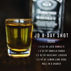 Make a wish (for Jack Daniel's). Pour together 1/4 oz of Jack Daniel's, 1/4 oz of vanilla vodka, 1/2 oz of hazelnut liquer, and 1/2 oz of lemon-lime soda and roll in a shaker. An amazing drink for another amazing year.