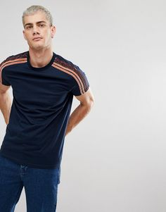 ASOS T-Shirt With Velour Shoulder Taping In Navy - Navy Asos T Shirts, 7a9e278dc323