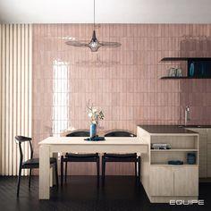 Pink wall tiles for trendy bathrooms designs // Tribeca Tea Rose 6x24.6 cm #traditionaltiles #tiles #bathroom #kitchen #floortile #monochromatic, #design #interiordesign, #interiordesigner #kitchen #kitchentile, #modern #tile, #traditional #vanguard, #nordic #industrial #vintage #millenialpink #equipe #equipeceramicas #floortile #walltile #millenialpink #pinkwalls Modern Kitchen Tiles, Kitchen Wall Tiles, Kitchen Design, Tiles Direct, Splashback Tiles, Pink Tiles, Interior Photo, Tea Roses, Interior Decorating