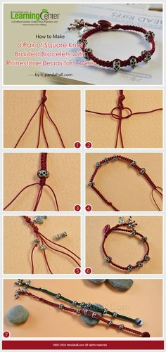 #Beebeecraft shows u how to make a Pair of Square Knot #Braided #Bracelets with #RhinestoneBeads for #Lovers