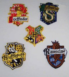 ANY two(2) x harry potter iron on patches  - hogwarts house emblems