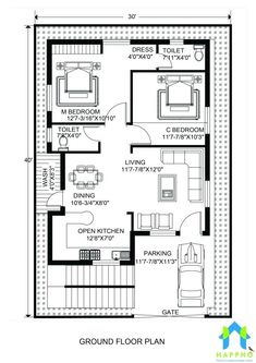 30 40 house plans house floor plans luxury floor plan for x feet plot of 30 x 40 duplex house plans south facing Modern House Floor Plans, Unique Floor Plans, Farmhouse Floor Plans, Simple House Plans, Home Design Floor Plans, Modern Farmhouse, 2bhk House Plan, Model House Plan, House Layout Plans