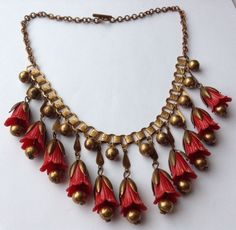 Vintage Art Deco Red Flower Celluloid Dangling Bookchain Necklace | eBay