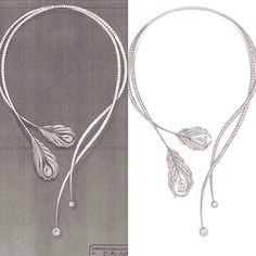 "Sketch vs live piece. #Chanel's ""Plume"" #necklace. Beautiful piece, amazing artwork. ✏️ #sketches#contrast#luxury#whitegold#diamonds#highend#homeofeve#HE#jewellery#jewellerydesign#finejewellery#jewels#bespoke#fashion#art#design#beauty#passion#dubai#uae#sweden#stockholm#mydubai#passionforcreation"