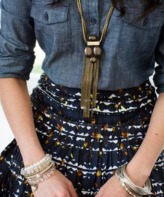 #Silpada Leather Together Necklace on a chambray shirt = perfection #WomensFashion