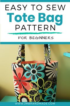 Easy to Sew Tote Bag Pattern Learn to sew your own tote bag with this simple DIY tote bag sewing tutorial. Step-by-step instructions. Perfect sewing project for beginners. Easy Sewing Patterns, Bag Patterns To Sew, Tote Pattern, Free Tote Bag Patterns, Sewing Projects For Beginners, Sewing Tutorials, Tote Bag Tutorials, Sewing Ideas, Diy Tote Bag