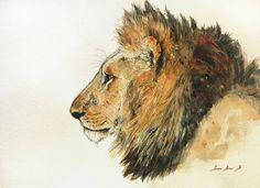 PRINT-Lion Male lion african trophy by SanMartinArtsCrafts